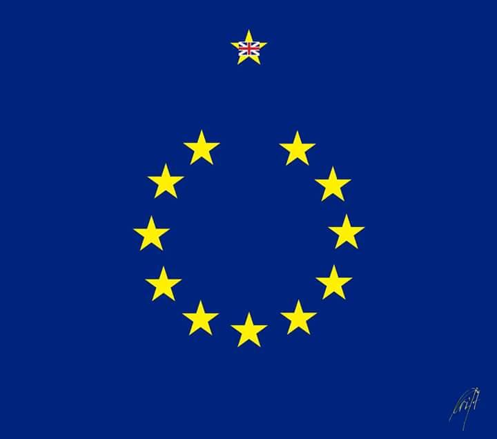 Em referendo, Reino Unido escolhe deixar a União Europeia. Temos incertos e obscuros à vista. Crédito: reprodução/charge