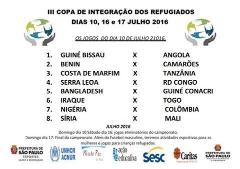 Jogos do primeiro dia da Copa dos Refugiados. Crédito: Divulgação