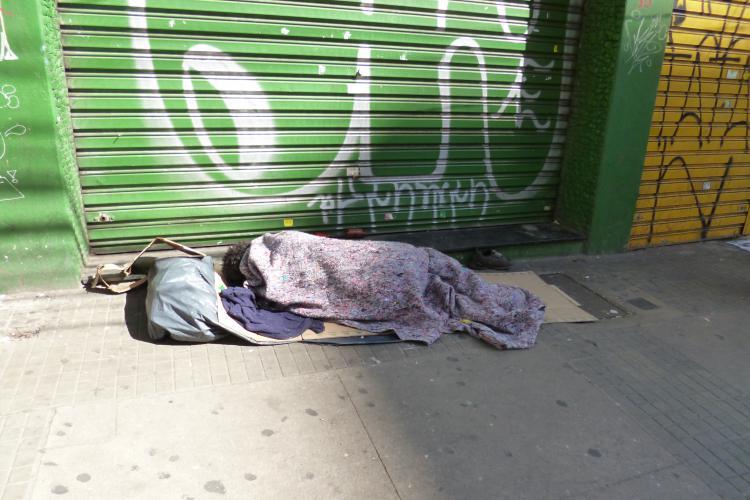 Morador de rua em São Paulo. Crédito: Heike Drotbohm