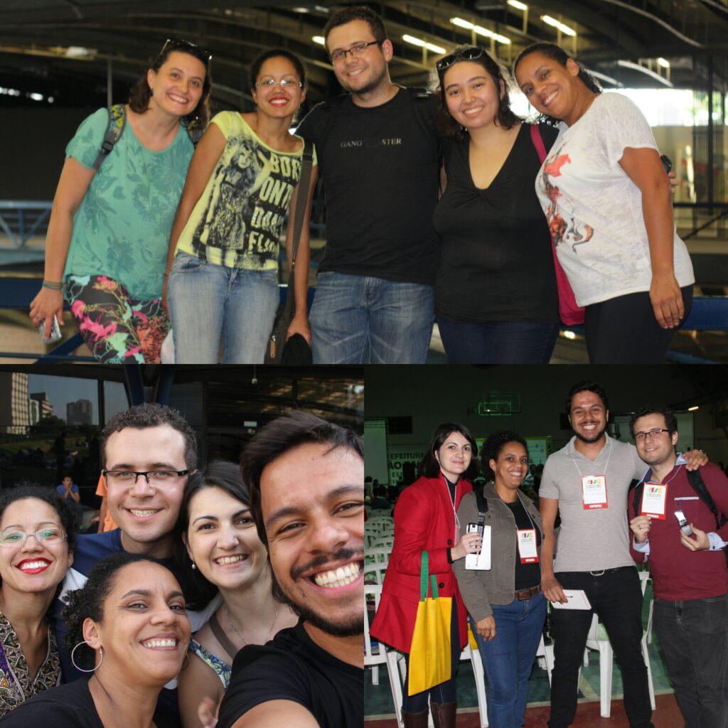 Equipe do MigraMundo em ação em três momentos: reuniões no CCSP e em campo no FSMM. Crédito: arquivo MigraMundo