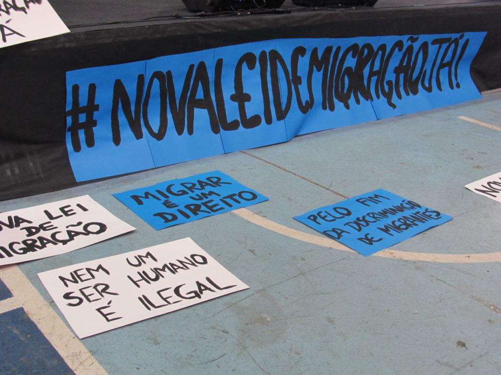 No Fórum Social Mundial de Migrações, campanha lançou ahashtag #NovaLeideMigraçãoJá Crédito: Rodrigo Borges Delfim/MigraMundo